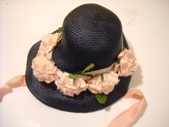 Vintage Navy Blue Straw Hat Pink Millinery Flowers