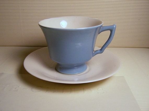 Vintage Blue Tea cup and Saucer set Coffee time