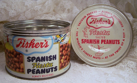 Vintage Tin Can, Fisher's Spanish Nuts, Fiesta Peanuts, Antique Tin, Advertising, Metal Container