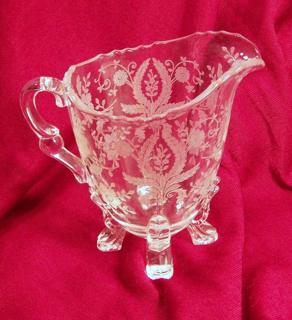 Vintage Fostoria Clear Etched Glass 4 Footed Individual Creamer