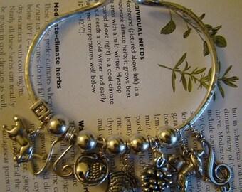 Twilight Trip Charmed Sterling Silver Bangle Bracelet