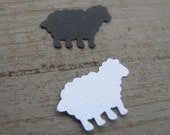 Black and White Sheep Paper Embellishments - 50 count