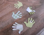 Green Hand Shape Handpunched Paper Die Cuts - 50 Count