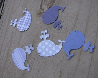 Handpunched Scrapbooking Paper Purple Whales - 50 Count