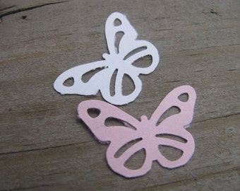 Pink and White Paper Butterflies - 50 Count
