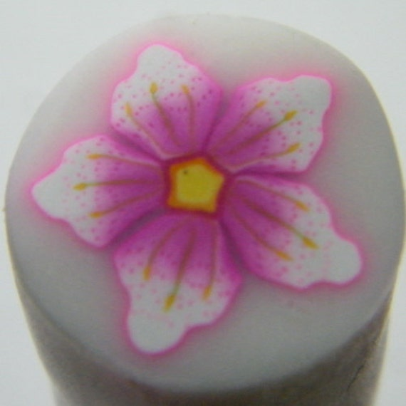 Hot pink spotted polymer clay flower cane