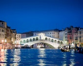Rialto Bridge photograph Venice photo Grand Canal at night evening twilight gondola blue ven15