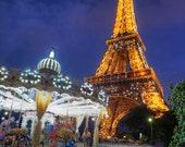 Paris Photography Eiffel Tower Photo Carousel Photograph Vintage Paris Print Night Carnival  France par11
