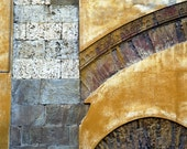Italy Photography, Italian Architecture Abstract Photo Yellow Ocher Gold Design Brick Arch Burnt Orange ita83