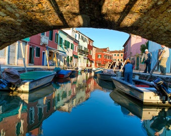 Burano Photograph Italy Photo Venice Print Canal Italian Colors Village Blue Boats  ita45