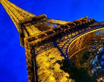 Eiffel Tower Photo Paris Photography Night Photograph Twilight Blue Gold Wall Art Evening Home Decor par46