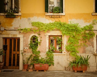 Venice Photograph, Italy Photo Italian Pastel Yellow House Neutral Colors Wall Decor Fine Art ven8