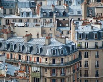 Paris Rooftops Photo Parisian Roofs Photograph Houses Apartments Buildings Neutral Colors Brown Beige Tan par14