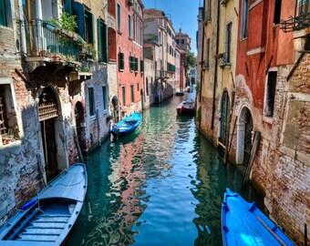 Venice Photograph Italy Photo Venice Canal Venetian Buildings Gondola Italian Colors  ven31