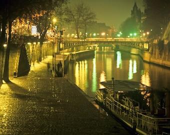 Paris Photography, Seine River Photo, Foggy Paris Night France Print Bridge Boats Neuf  par35