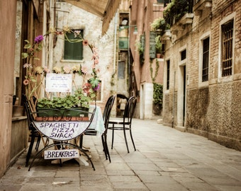 Cafe Photography Venice Photograph Italy Photo Vintage Italy Food Print Restaurant Neutral Colors ven12