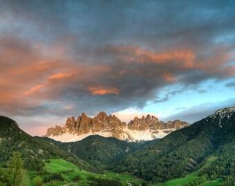 Mountain Sunset Photo, Italy Photography Italian Alps Swiss Valley Dolomites Spring Landscape Wall Art ita10
