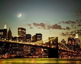 Brooklyn Bridge Photo, New York Photography Manhattan Photograph nyc Skyline Print Night City Moon nyc13
