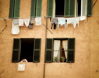 Hanging Laundry Photo, Italy Photography Tuscany Photograph Siena Neutral Colors Beige Brown Tan Pastel ita72