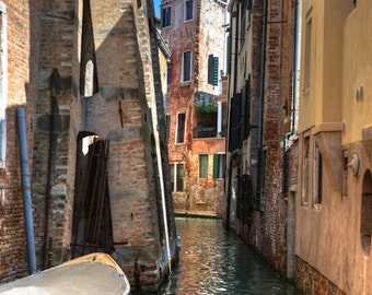 Venice Canal Photo, Italy Photography Dreamy Gondola Reflections Neutral Colors Brown Beige Wall Decor ven43