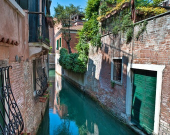 Venice Photography, Italy Photograph Dreamy Canal Vines Reflections Gondola Wall Decor Fine Art Print ven46