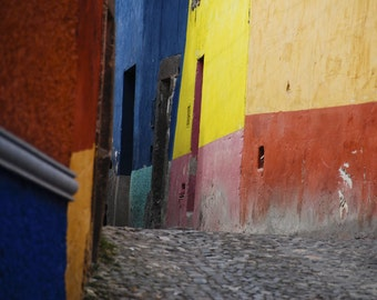 Mexico photography San Miguel de Allende photo Mexican Color Print Red Blue Southwestern Style Santa Fe lat6