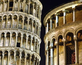 Leaning Tower Photo, Italy Photography Pisa Photograph Night Architecture Wall Art Home Decor Fine Art Print ita44