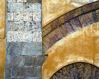 Italy Photography, Italian Architecture Abstract Photo Yellow Ocher Gold Design Brick Arch Burnt Orange ita83
