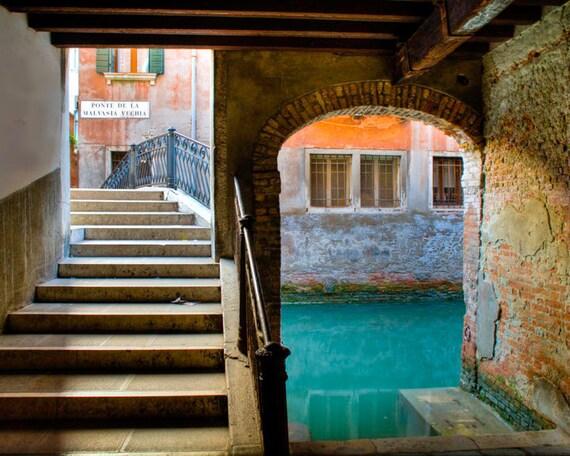 Venice Photography, Italy Photo, Canal Street Bridge Architecture Italian Colors Orange Red ven17