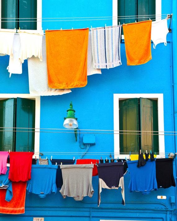 Burano Photograph, Italy Photography Hanging Laundry Photo Indigo Blue Orange Italian Colors Shabby Chic ita49