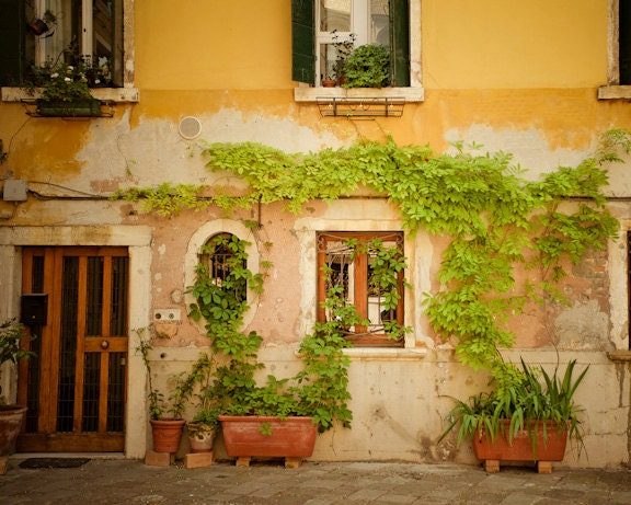 venice photograph italy photo italian pastel yellow house