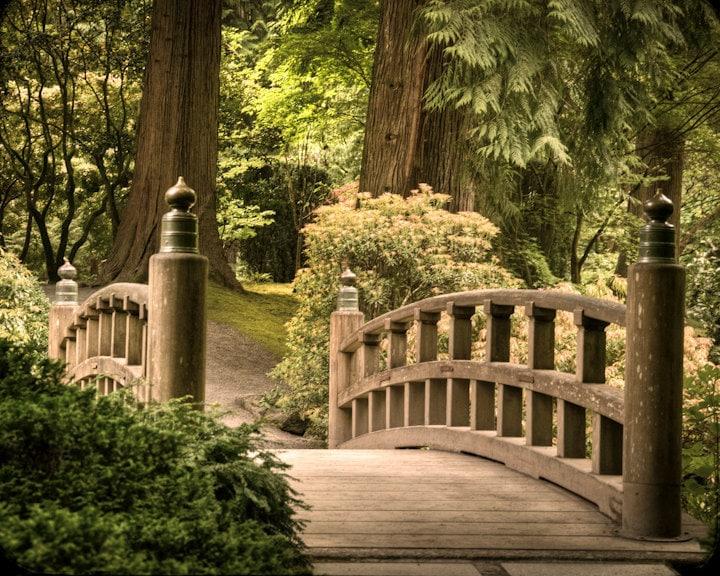 Japanese garden photograph nature photo zen buddhism quiet art for Zen garden bridge
