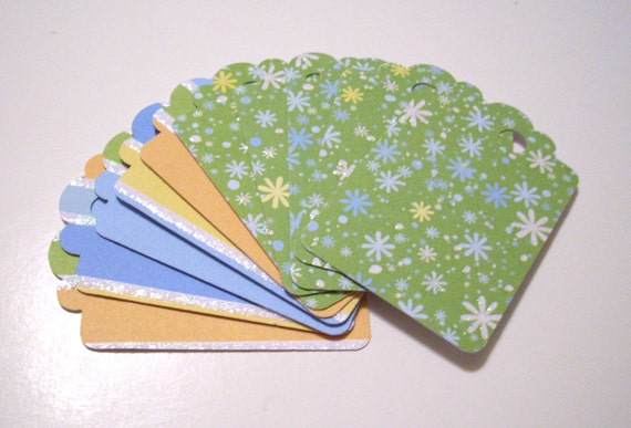 Gift Tag Set of 10 Green Floral and Multicolor Stripes