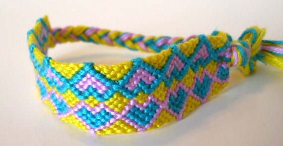 Friendship Bracelet Knotted Yellow Blue Pink Hearts