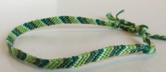 Friendship Bracelet Stripes Light Dark Green