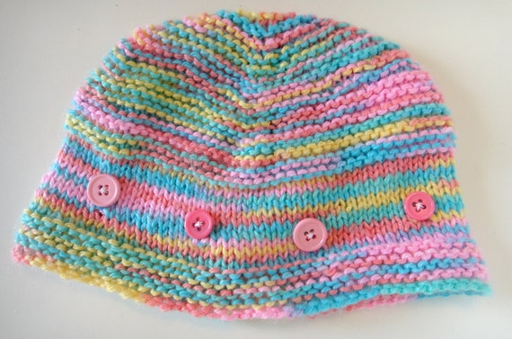 Baby or Toddler Hat Multi Color Button Cute
