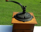 Vintage Coffee Grinder Wood Dovetailed Cast Iron Grinder