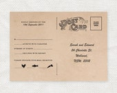 vintage rsvp postcard - printable file