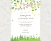garden fete wedding invitation spring bunting - printable file - DIY printable wedding invitation