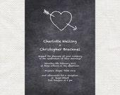 chalkboard diy wedding invitations - printable wedding invitations love heart sketch doodle high school teacher retro do it yourself crush
