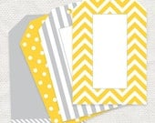 graphic gift tags chevron, stripes and dots - printable file - yellow and gray grey