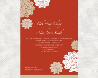 chinese wedding invitations set 婚禮喜帖  - DIY printable - asian red floral pattern flowers chrysanthemum, custom, birthday invite, reply card