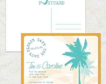 tropical travel save the date - diy printable file - beach party destination wedding, palm tree, luggage tag or postcard design customised