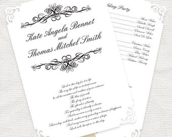 wedding ceremony program fan classic scroll - printable file simple elegant order of service design paddle fan customised personalised diy