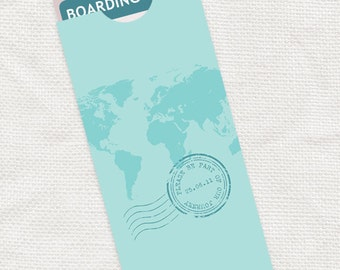 map boarding pass travel pouch envelope - printable file - destination wedding personalized ticket holder custom diy world stamp