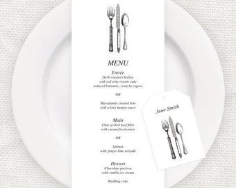 diy wedding menu and favor tag template - vintage cutlery - place card tags, printable, table decor, downloadable customisable place setting