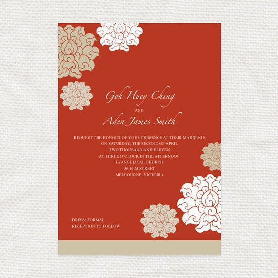 Items similar to chinese wedding invitations set for Chinese wedding invitations etsy