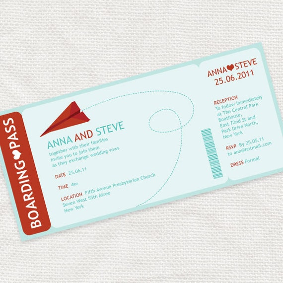 Airplane Ticket Boarding Pass Birthday Invitation: Items Similar To Paper Plane Boarding Pass Ticket Wedding