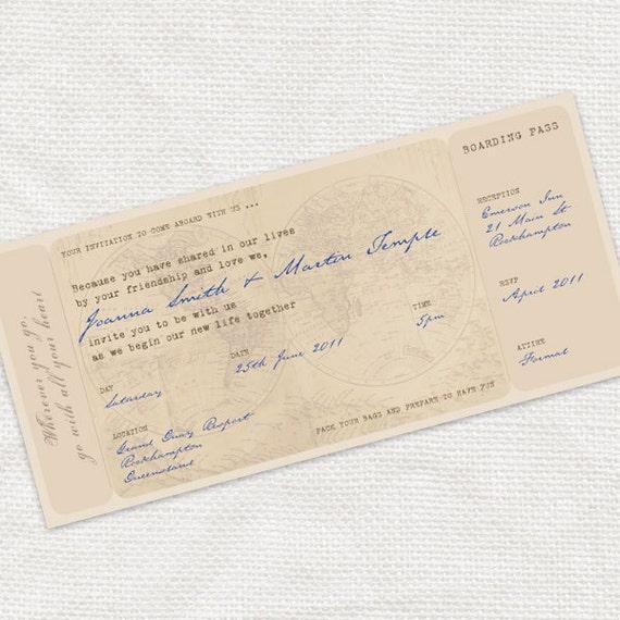 printable wedding invitation boarding pass ticket - antique chic travel diy wedding stationery, destination travel themed, vintage map globe