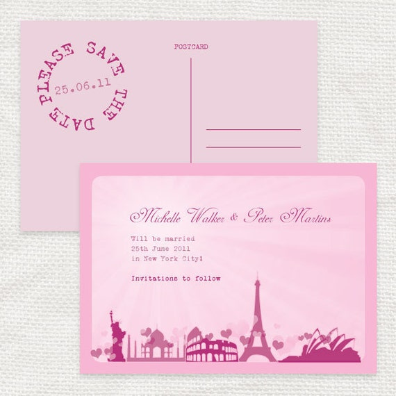 romantic rendezvous travel save the date postcard or luggage tag - printable file